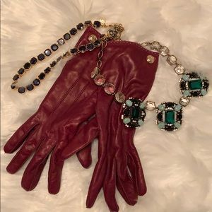 Coach maroon leather gloves